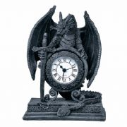 Stone Effect Dragon with Sword Clock